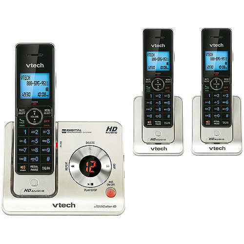 VTech LS6425-3 DECT 6.0 Expandable Cordless Phone with Answering System and Caller ID/Call Waiting, Silver with 3 Handsets [3 Handsets]