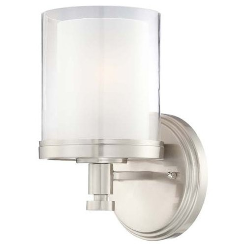 Nuvo Lighting 60/4641 Decker Single Light Bathroom Fixture with Clear and Frosted Glass