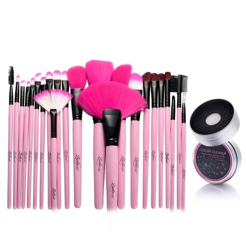Zodaca 24-piece Set Pink Makeup Brushes with Pouch Bag/ Makeup Brush Color Removal Dry/ Wet Duo Sponge