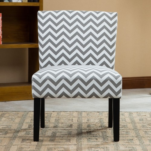 Botticelli Grey Wave Print Fabric Armless Contemporary Accent Chair - Grey Wave