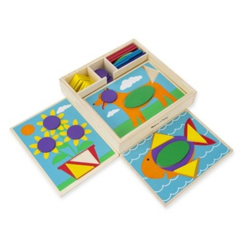 Melissa & Doug Beginner Pattern Blocks Wooden Classic Toy