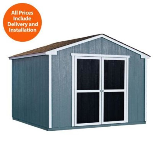 Handy Home Products Installed Princeton 10 ft. x 10 ft. Wood Storage Shed with Autumn Brown Shingles