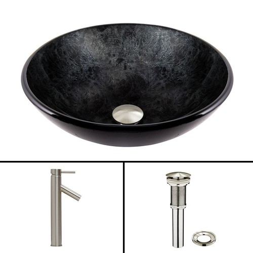 VIGO Glass Vessel Sink in Gray Onyx and Dior Faucet Set in Brushed Nickel