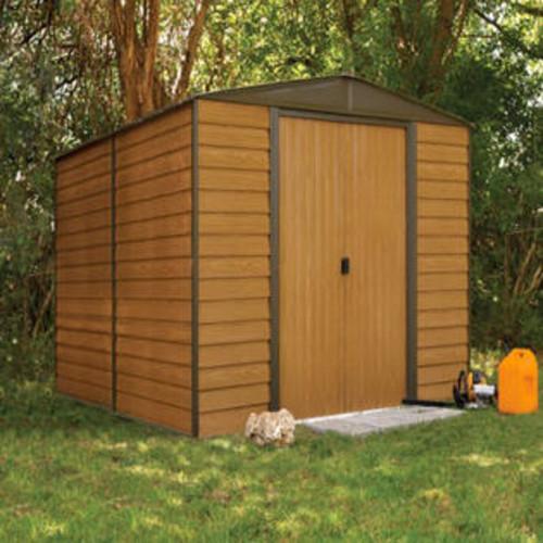 ShelterLogic WR1012 10 x 12 ft. Arrow Woodridge Electro Galvanized Steel Storage Shed, Coffee u0026 Woodgrain