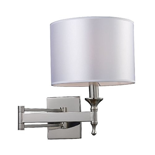Elk Lighting 10160-1 Pembroke 1 Light Transitional Wall Sconce Lighting Fixture, Polished Nickel, Light Silver Fabric, B12510