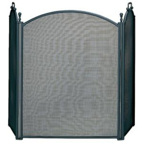 UniFlame Black Large Diameter 3-Panel Fireplace Screen with Woven Mesh