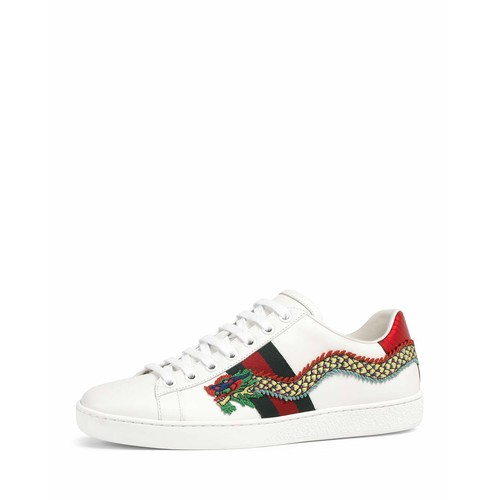 GUCCI Ace Snake-Embroidered Sneaker, White