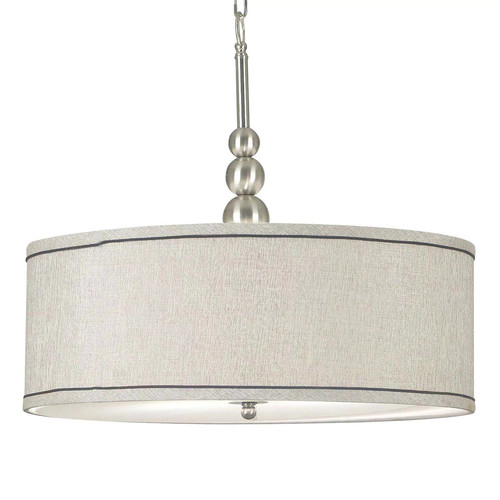 Kenroy Home 91640BS Margot 3-Light Pendant with Fabric Shade, Brushed Steel [Brushed Steel Finish]