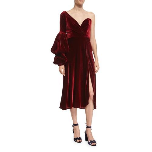 JOHANNA ORTIZ Sabina One-Shoulder Velvet Sweetheart Dress