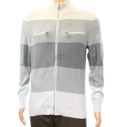 INC NEW Gray Colorblocked Mens Size Medium M Full Zip Sweater Cotton