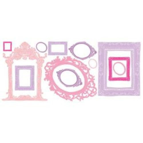 18 in. x 40 in. Pink and Purple Frames 12-Piece Peel and Stick Giant Wall Decals