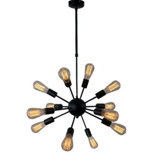 Unitary Vintage Metal Hanging Ceiling 12-Light Sputnik Chandelier; Black