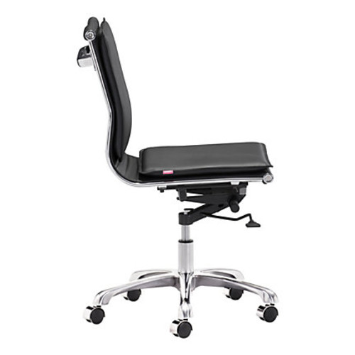 Zuo Lider Plus Armless Low-Back Office Chair, Black/Chrome