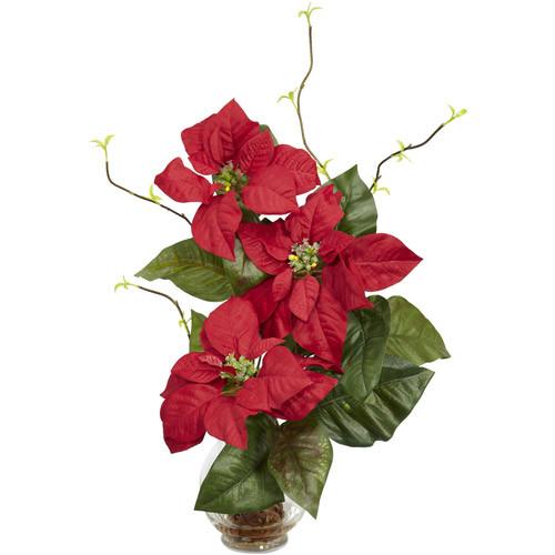 Poinsettia with Fluted Vase Silk Flower Arrangement