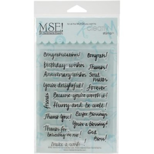 MSE My Sentiments Exactly Clear Stamps 4 x 6 inch Sheet, Handwritten Sentiments