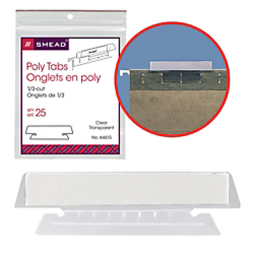 Smead Clear Hanging Poly Tabs, 3 1/2