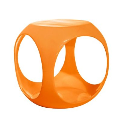 AVE SIX Slick High Gloss Finish Cube Occasional Table, Orange [Orange]