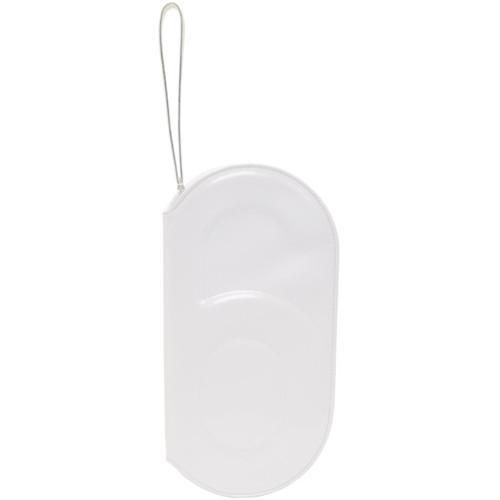 White '6' Curved Zip Around Clutch