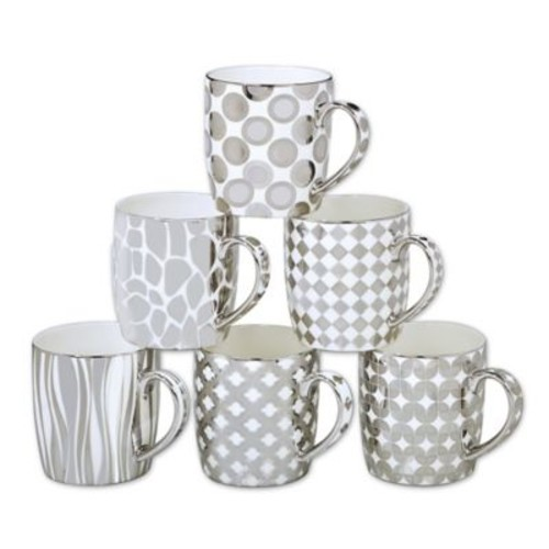 Certified International Elegance Silver18 oz. Barrel Mugs (Set of 6)
