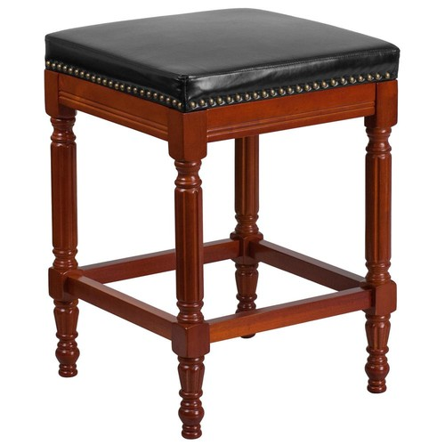 Flash Furniture 26 in. Black and Light Cherry Cushioned Bar Stool