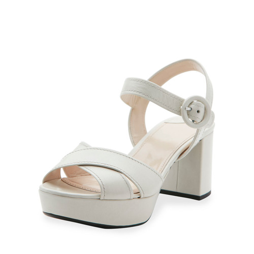 PRADA Crisscross Leather Platform Sandal