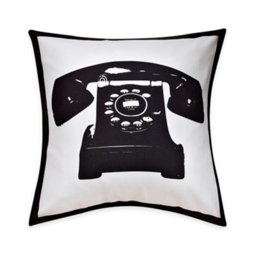 Telephone Print Throw Pillow in Black/White