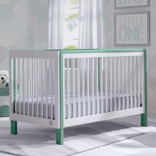 Serta Fremont 3-in-1 Convertible Crib - Bianca White with Aqua