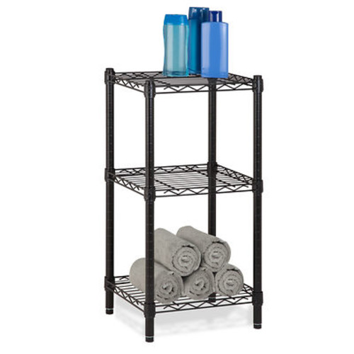 Honey Can Do SHF-02218 Three-Tier Black Wire Shelving Tower ...
