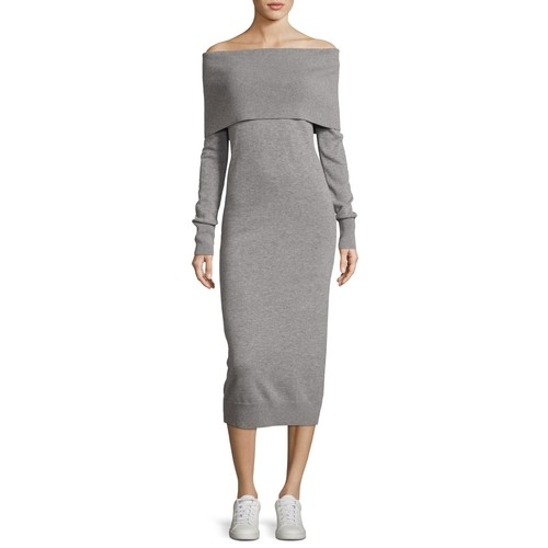 THEORY Off-The-Shoulder Fold-Over Elevated Wool Dress