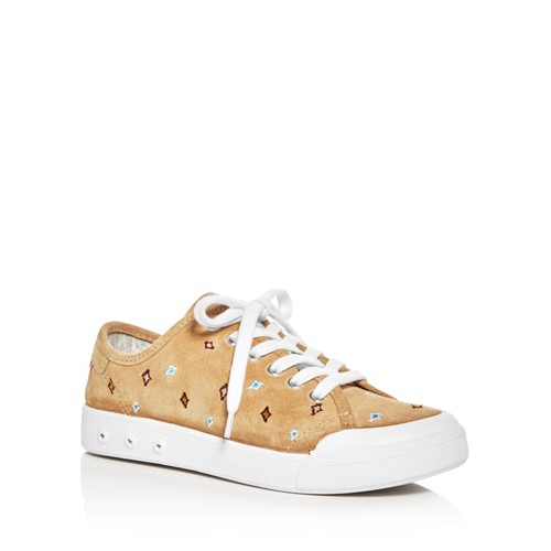 RAG & BONE Women'S Standard Issue Suede Embroidered Lace Up Sneakers