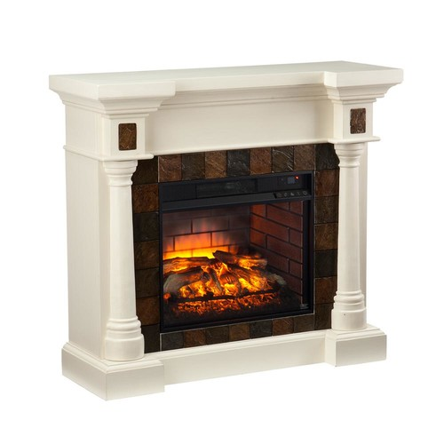 Southern Enterprises Genesee 44.5 in. W Faux Slate Convertible Infrared Fireplace in Ivory