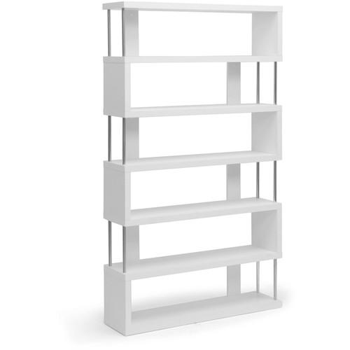 Barnes White Six-Shelf Modern Bookcase, White Finish