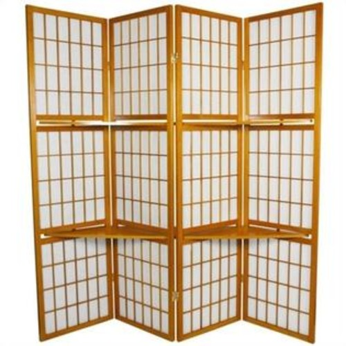 Oriental Furniture Window Pane with Shelf Room Divider in Honey