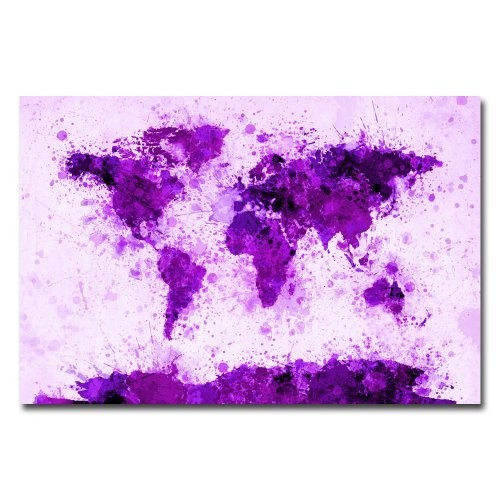 World Map - Purple Paint Splashes by Michael Tompsett, 16x24-Inch Canvas Wall Art [16 by 24-Inch]