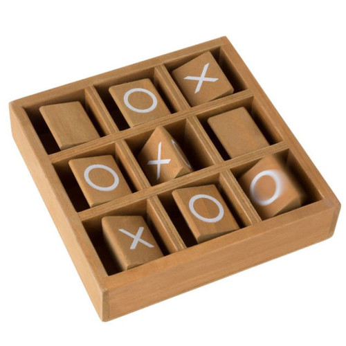 Tic-Tac-Toe Small Wooden Travel Game with Fixed, Spinning Pieces - Traveling Board Game for Adults, Kids, Boys and Girls by Hey! Play!