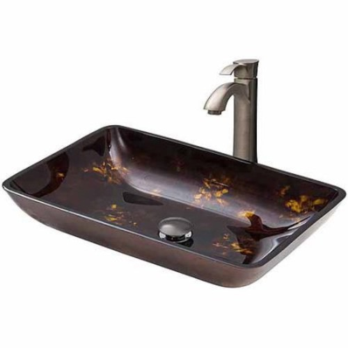 VIGO Rectangular Brown and Gold Fusion Glass Vessel Sink and Otis Faucet Set in Brushed Nickel
