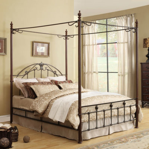 Home Creek Cast Iron Metal Canopy Bed