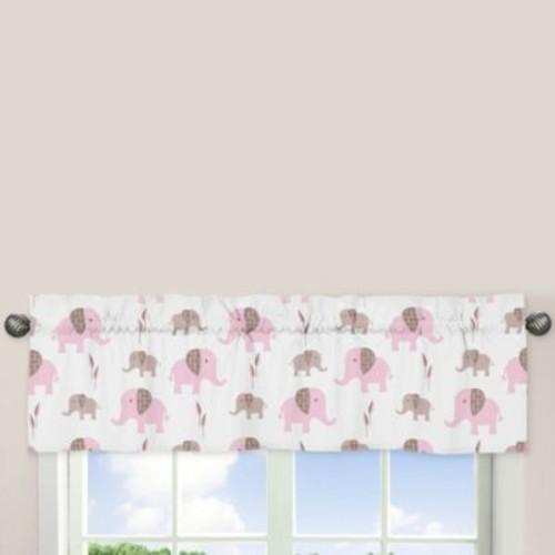 Sweet Jojo Designs Mod Elephant Window Valance in Pink/Taupe