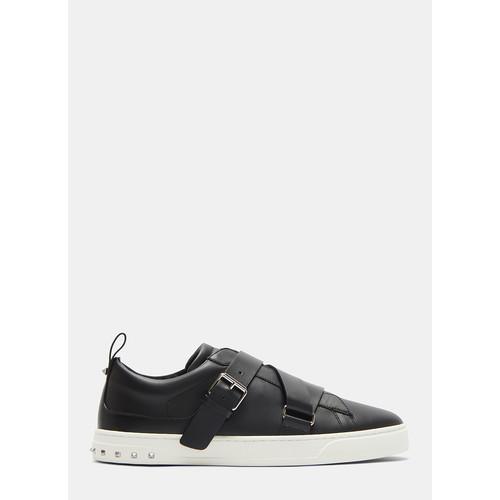 Buckled Strap Stud Sneakers in Black