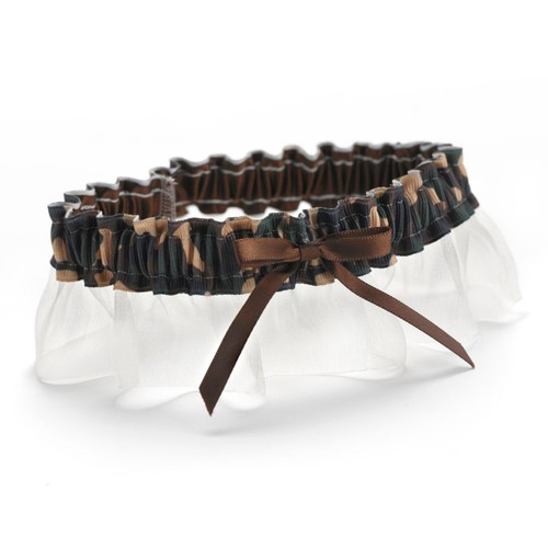 HBH Desert Camouflage Garter With Brown Bow and Ivory Chiffon Ruffle