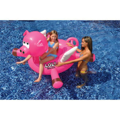 LOL Swimline LOL 54 inch Pig Inflatable Ride-On Toy for Swimming Pool