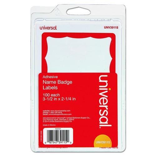 Universal Self-Adhesive White/Red Name Badges (Box of 100)