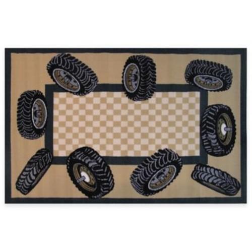 Fun Rugs 3-Foot 3-Inch x 4-Foot 10-Inch Tire Border Rug