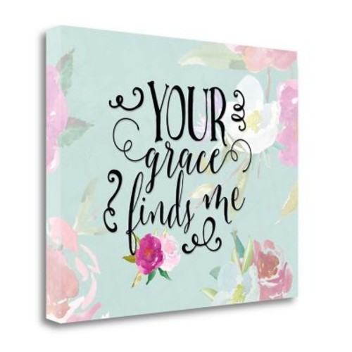 Tangletown Fine Art 'Your Grace Finds Me Floral' Textual Art on Wrapped Canvas; 22'' H x 28'' W