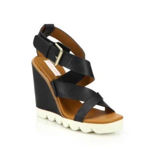 SEE BY CHLOÉ Bisco Leather Wedge Sandals