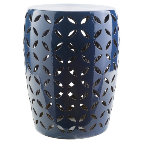 Chantilly Ceramic Garden Stool, Cobalt