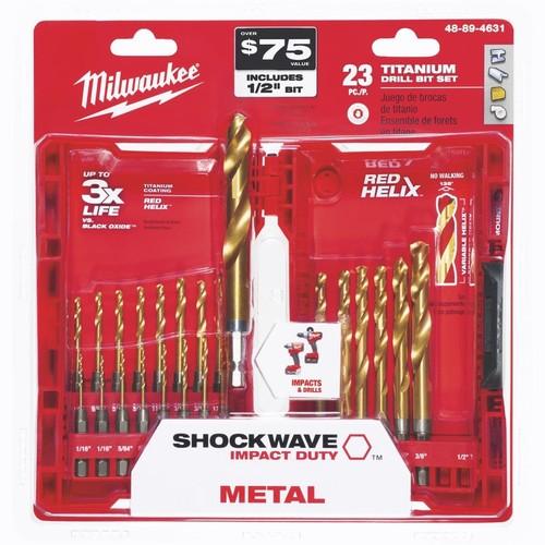 Milwaukee Shockwave 23-Piece Impact Duty Titanium Hex Shank Drill Bit Set - 48-89-4631