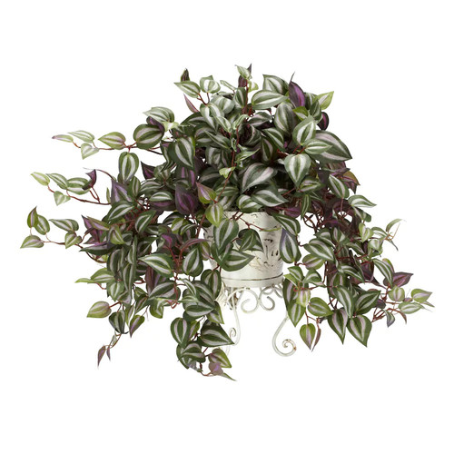 18 in. H Green Wandering Jew with Metal Planter Silk Plant