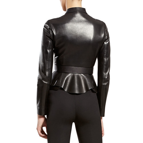 Gucci Black Leather Zip-Front Jacket
