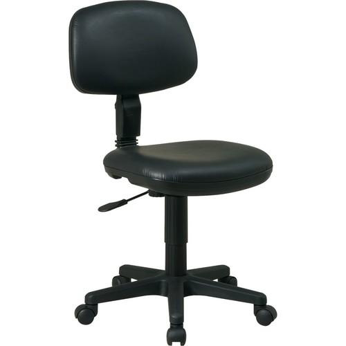 Office Star Basic Faux-Leather Task Chair; Armless, Black